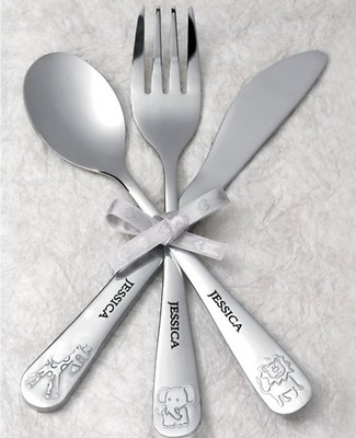 Personalised Animal Cutlery Set - Christening / Birth / Boy / Girl
