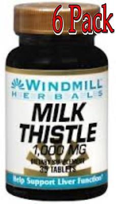 Windmill Milk Thistle 1000 Mg Tablets, 30ct, 6 Pack 035046007157T439