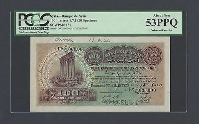 Lebanon 100 Piasters 1-7-1920 P15s  Specimen About Uncirculated