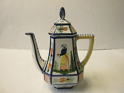 Antique Unsigned Quimper France French Faience Pottery Teapot Bretonne Woman