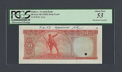 Turkey 50 Lira ND(1953) P163p Uniface Back Proof About Uncirculated