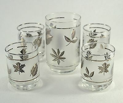 Vintage Libbey Silver Leaf Clear & Frosted Mid Century Drinking Glasses Set of 5