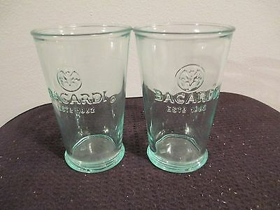 2 10 oz green glass Bacardi glasses-EUC