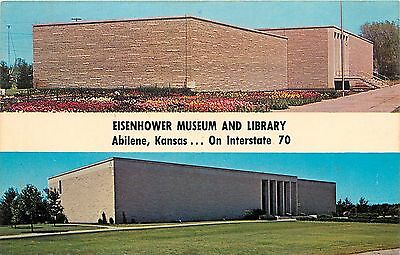 Abilene, Kansas, KS, Eisenhower Museum & Library, Vintage Postcard Old PC a4653