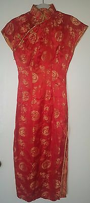 Vintage Unbranded X-Small Red & Gold Shimmery Cheong-sam Dress (EUC)