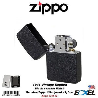 Zippo #28582 1941 Vintage Replica Pocket Lighter, Black Crackle, Windproof