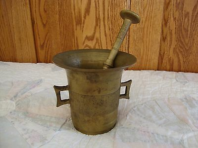Rare Antique Solid Brass Apothecary Mortar with matching Pestle