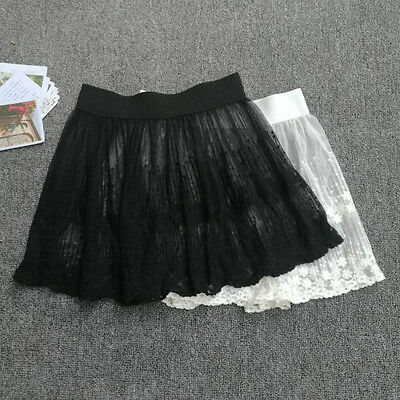 Lady Short Floral Lace Half Slip A Line Sheer Pleated Underskirt Petticoat Skirt