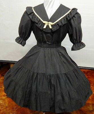 2 Piece Black And Gold Square Dance Dress