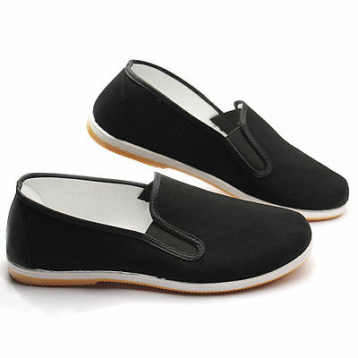 Chinese Martial Art Kung Fu Shoes Ninja Slip On RUBBER Sole Canvas Slippers