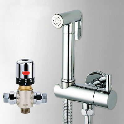 Toilet Hand Held Douche Bidet Spray Shower with Thermostatic Mixer Valve