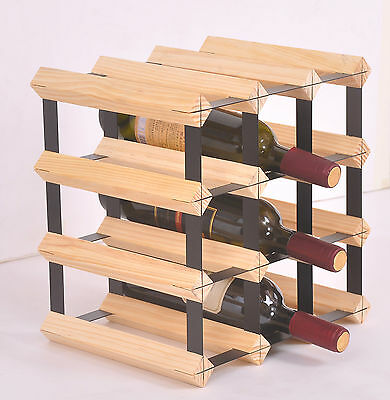 New 12 Bottle Timber Wine Rack - Complete Wooden Wine Storage System
