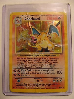 Pokemon Card Charizard Base Set 4/102, Heavily Played (3/10)