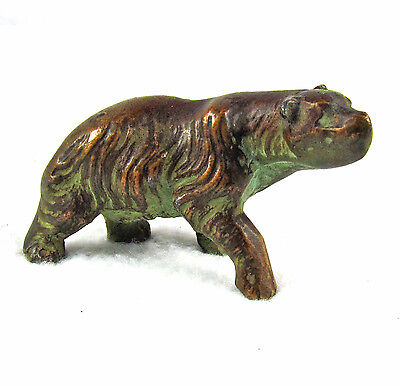 Miniature Grizzly Brown Bear Sculpture Figurine Verdigris Bronze Brass Copper