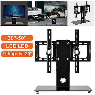 Tabletop Glass TV Stand With Bracket Mount For 30-50 Inch Plasma LCD LED Tilting