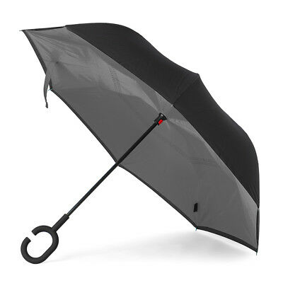 NEW Clifton Outside-In Inverted Grey/Black Umbrella