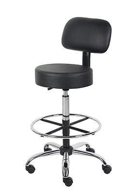 Rolling Swivel Stool Chair with Back Home or Office Adjustable Furniture, Black