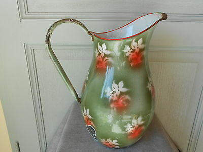 ANTIQUE FRENCH enamelware FLORAL Body PITCHER 1930's