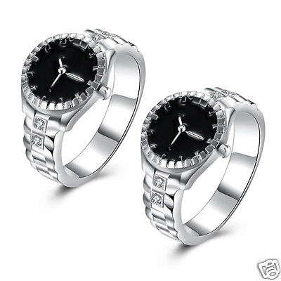 Elegant Lady Fashion Jewelry Silver Plated Zircon Round Watch Shape Finger Ring
