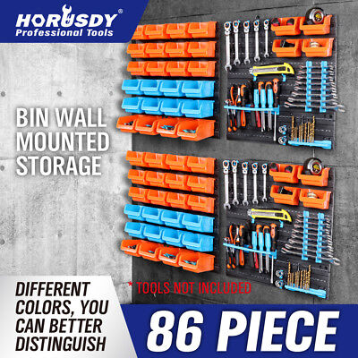 86Pc Tool Storage Bins Parts Box Shed Workshop Organiser & 4 Wall Mounted Boards