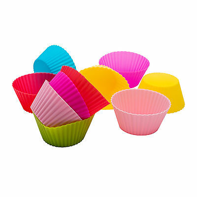 12 Pcs Silicone Reusable Round Cupcake Cases Muffin Cupcake mold Baking Moulds