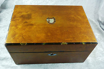Antique Birdseye Maple Sewing Box With Abalone And Brass Inlay C 1880's