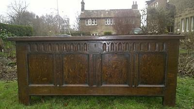 A Fine Antique C.17th Century Carved Oak Dowry Chest / Coffer