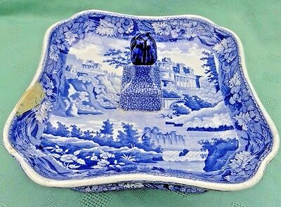 Antique Minton Semi China Pickle Stand Blue & White Transfer Italian Ruins 1820