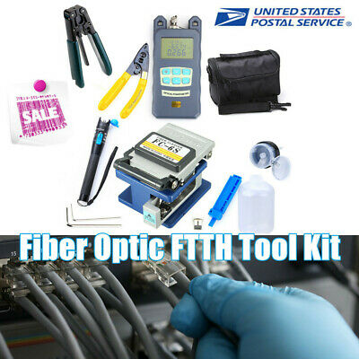 18PCS Fiber Optic FTTH Tool Kit FC-6S Fiber Cleaver Power Meter Finder Plier+Bag