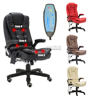 6 Point Massage Office Reclining Computer Chair Luxury Faux Leather Swivel Heat