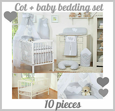 Cot With Heart + Nursery Baby Bedding Set 10 Pieces