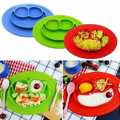 Cute One-Piece Silicone Placemat+Plate Dish Food Table Mat Baby Toddler Kids