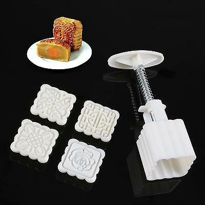 Hot Moon cake Cake Pastry Sugarcraft Mold Mould tool set with 4 Stamps LH