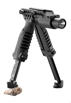 """3 In 1 Foregrip W/Integrated Adjustable Tactical Bipod and 1"""" Flashlight Holder"""