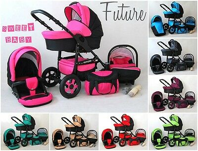 Baby pram 3in1 FUTURE pushchair carry cot car seat different colors 2017