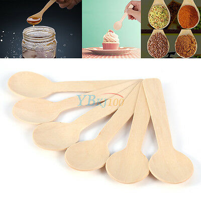 100Pc Lot Disposable Wooden Taster Spoon Ice Cream Tasting Sample Spoon Teaspoon