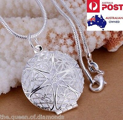Round LOCKET Photo Pendant Charm Necklace 925 Sterling Silver Chain Jewelry Gift