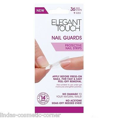 Elegant Touch Nail Guards Protective Nail Strips - 36 Nail Strips - 9 Sizes