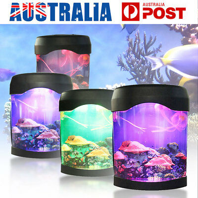 LED Jellyfish Tank Sea World Swimming Mood Lamp Nightlight Light MultiColored
