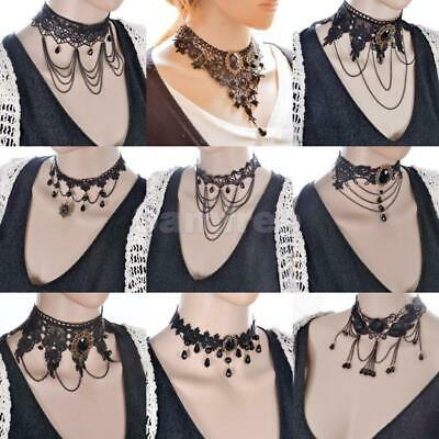 Women's Black Lace Chocker Collar Chunky Necklace Chain Gothic Victoria Jewelry