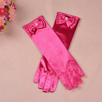 Girls Satin Bow Pearl LONG Gloves Princess Wedding Party Dress Dance Costume NEW
