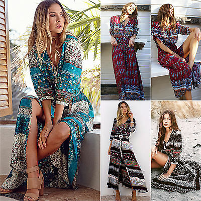 Women's Maxi BOHO Long Dress Evening Party Dress Summer Beach Sundress UK 6-18