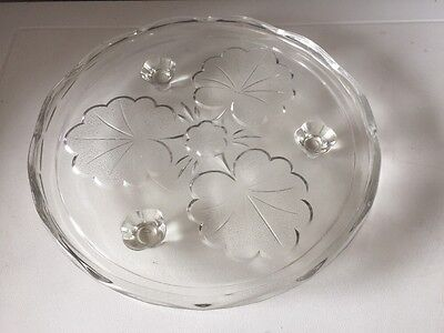 """Vintage/ Retro Pressed Glass Cake Stand Serving Plate Approx 9"""" 3 Legged"""