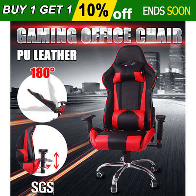 Executive Gaming Office Racing Chair Computer High Back PU Leather Recline Seat
