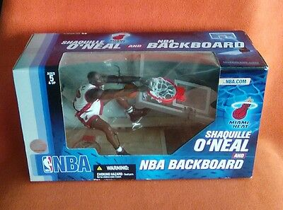 Action Figure Set Nba Backboard Shaquille O'neal Miami Heat Mcfarlane Sealed