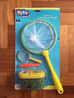 4pc Nature Playset Child Kids Bug Net Catcher KIT Insect Magnifying Glass Toy