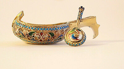 Beautiful 19C Antique Russian Silver Gilt Enamel Kovsh Spoon