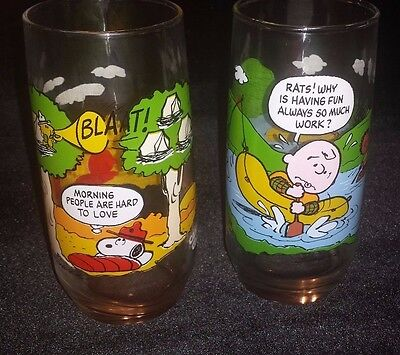 Peanuts Camp Snoopy McDonalds Drinking Tumblers Glasses 2 Charlie Brown Vtg