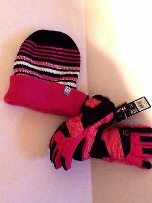 NWT Girls Size S/M Free Country Ski Gloves And 4 In 1 Hat 3M Thinsulate Pink