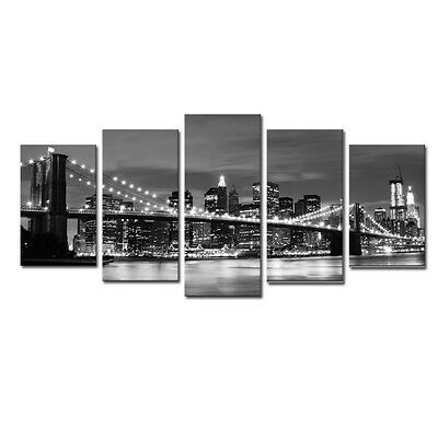 Canvas Print Painting Picture Photo Home Decor Wall Art Gray Cityscape Framed